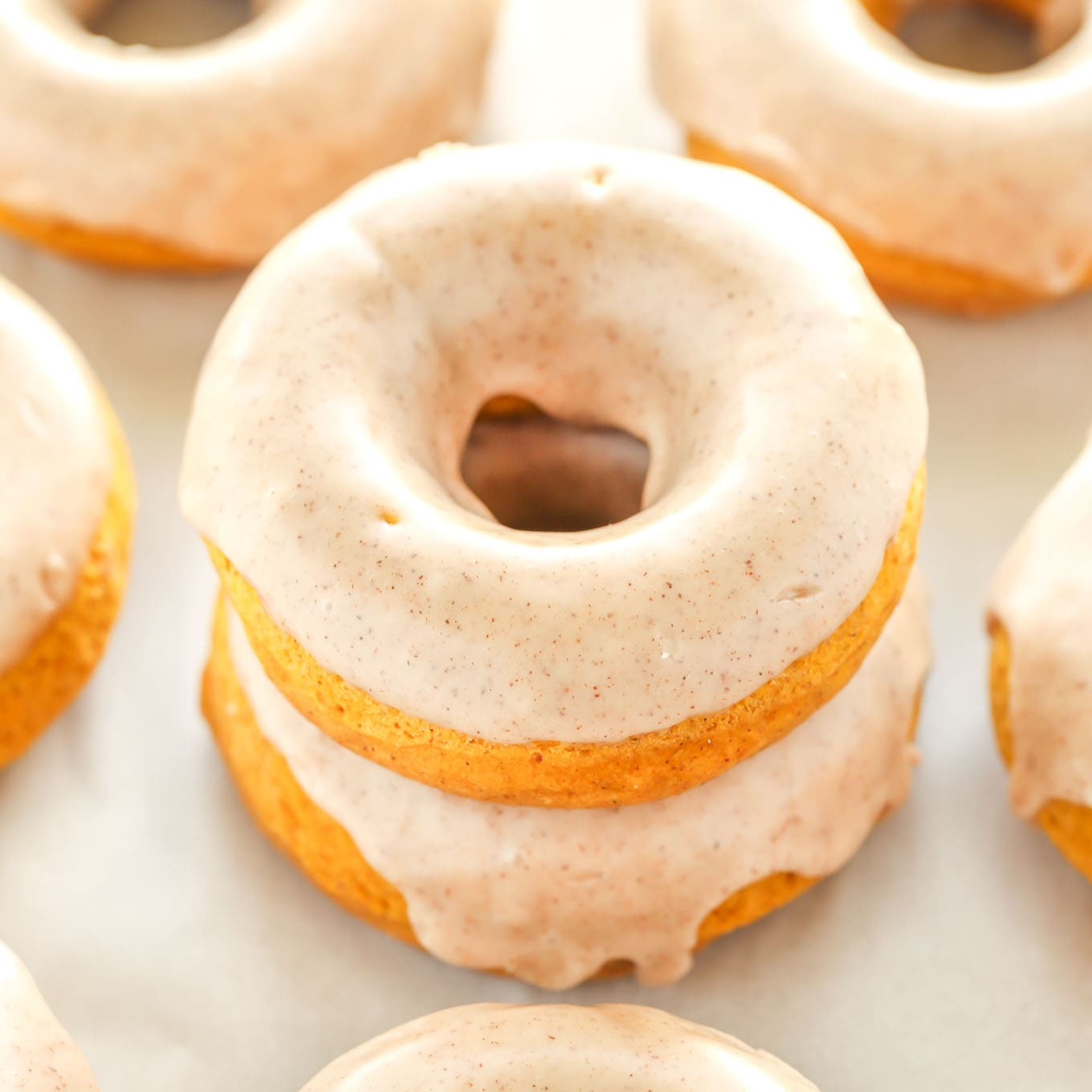 Baked Pumpkin Donuts with Maple Cinnamon Glaze