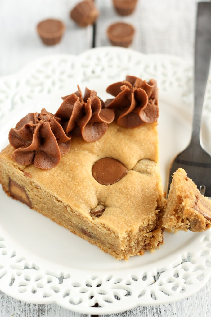 Peanut Butter Cup Cookie Cake - Live Well Bake Often