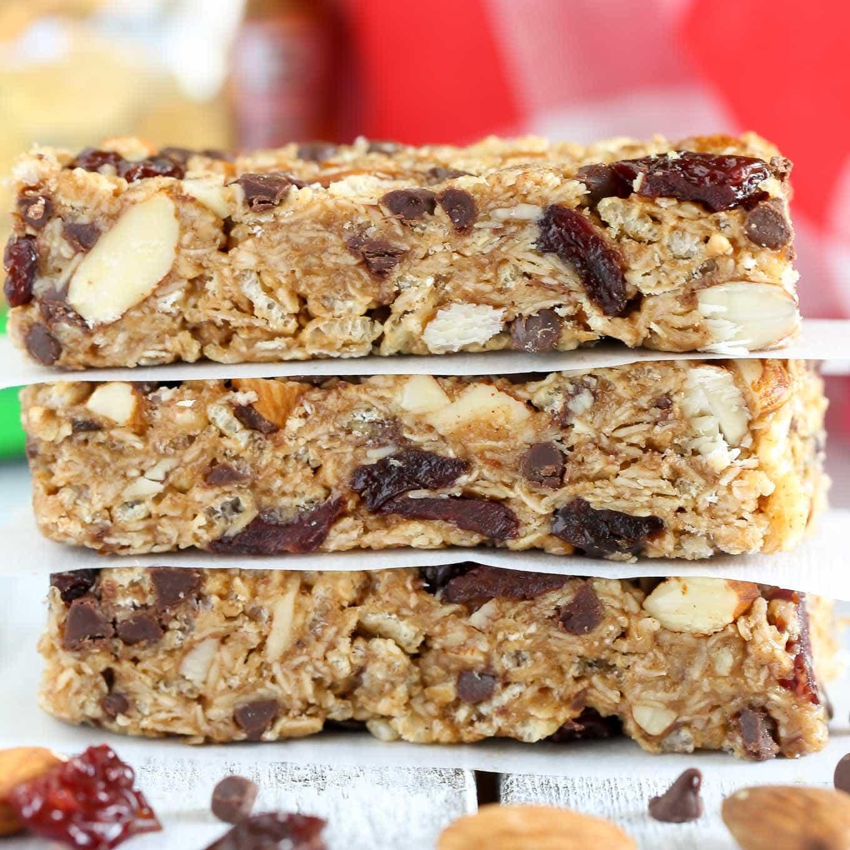 No-Bake Chocolate Cherry Almond Granola Bars - Live Well Bake Often