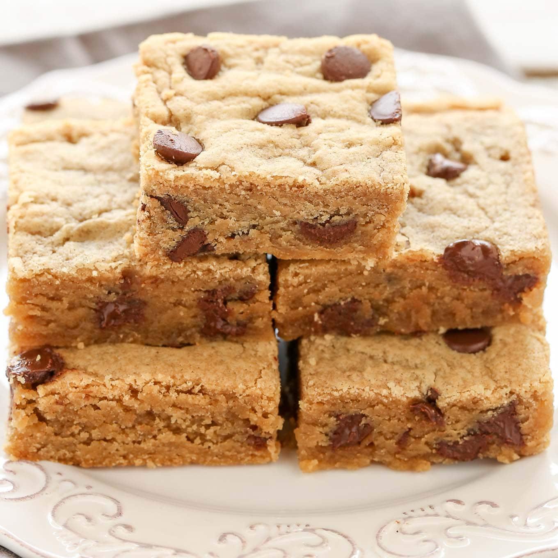 Peanut Butter Chocolate Chip Blondies - Live Well Bake Often